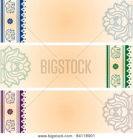 Lotus and elephant colorful horizontal banners