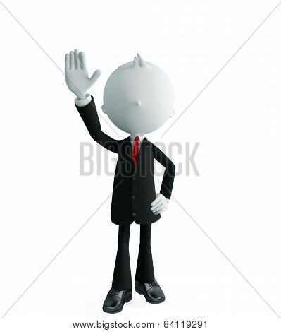 Businessman With Saying Hi Pose