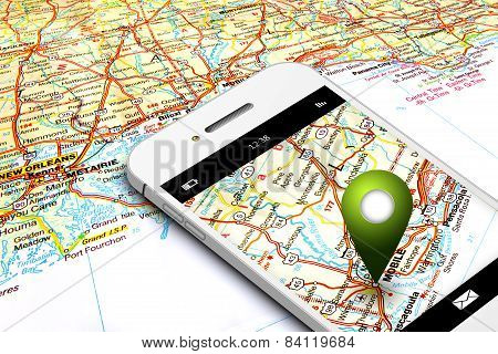 Mobile Phone With Gps And Map In Background
