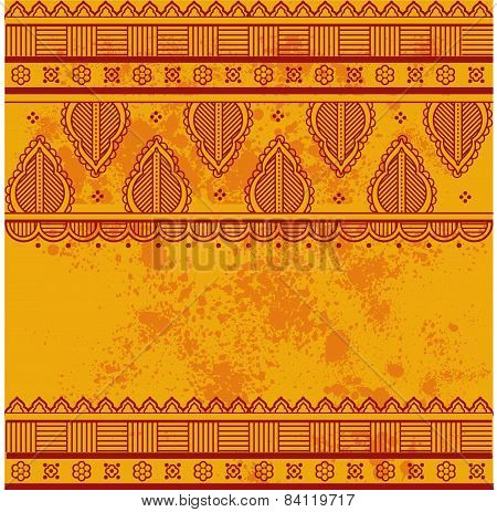 Yellow Indian henna paisley background