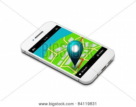 Mobile Phone With Map And Gps Application Isolated Over White