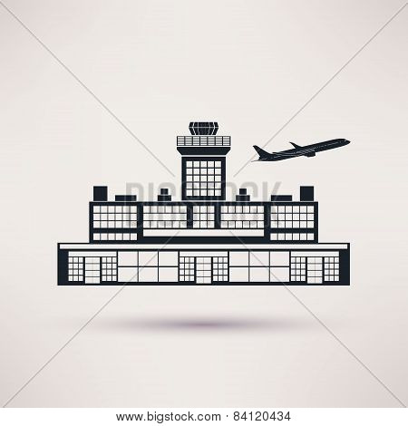 Airport building. Icon in the flat style.