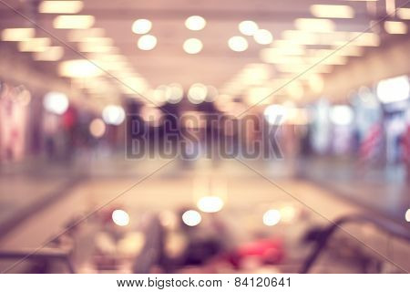 Blur image of shopping mall with shining lights