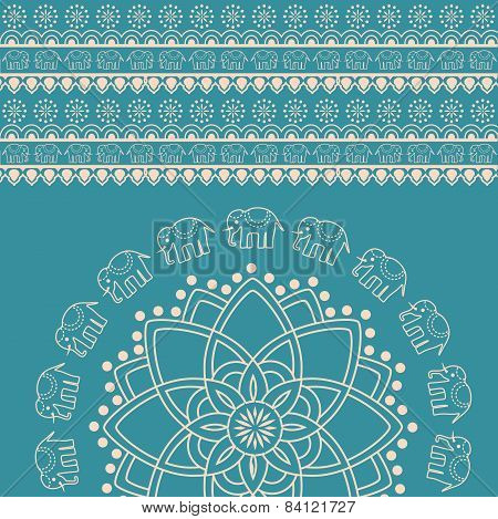 Blue Indian henna design elephant mandala background