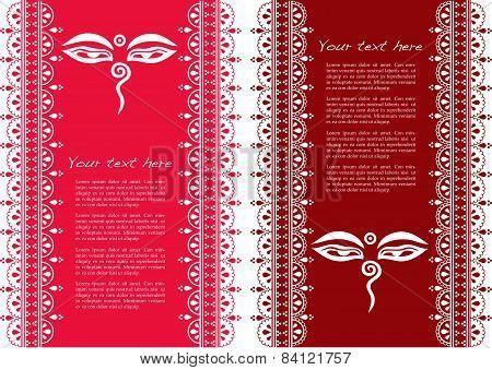 Buddhist henna design vertical banners
