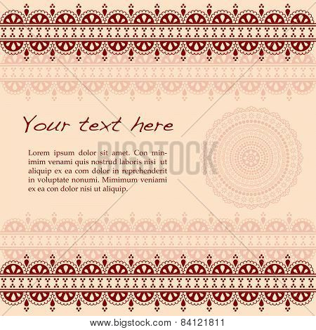 Burgundy Indian henna design background with mandala