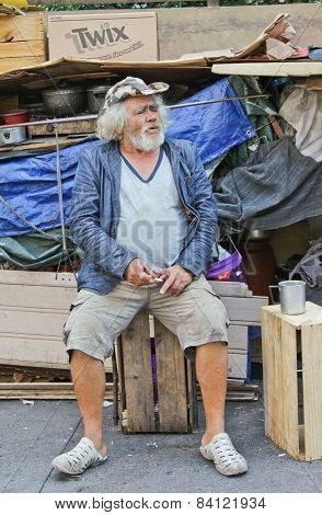 Homeless Living On Street With All His Things