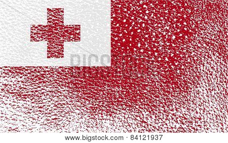 Flag Of Tonga With Old Texture. Vector