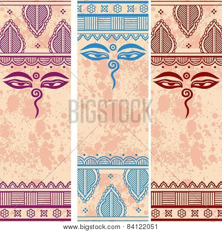 Colorful Buddhist henna paisley vertical banners