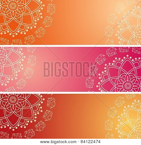 Colorful Indian elephant mandala horizontal banners