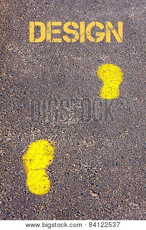 Yellow Footsteps On Sidewalk Towards Design Message