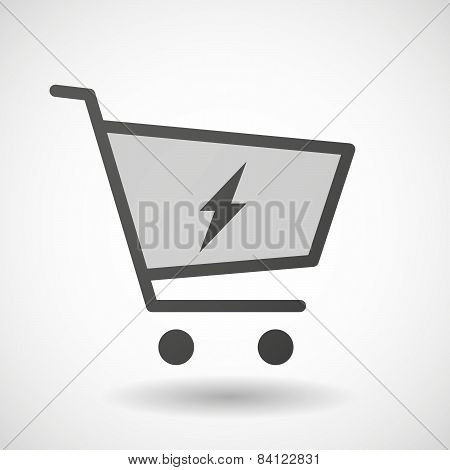 Shopping Cart Icon With A Lightning