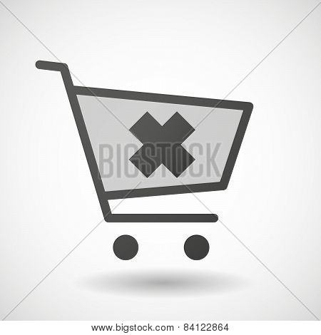 Shopping Cart Icon With An Irritating Substance Sign