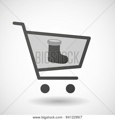 Shopping Cart Icon With A Christmas Sock