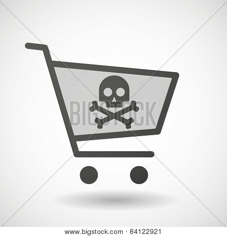 Shopping Cart Icon With A Skull