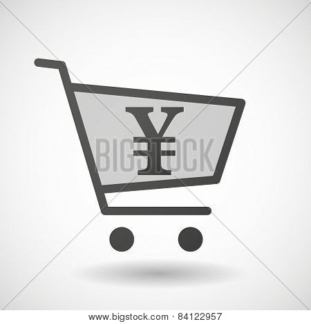 Shopping Cart Icon With A Yen Sign