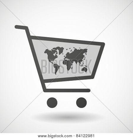 Shopping Cart Icon With A World Map