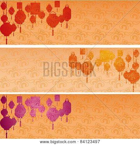 Chinese New Year hanging lanterns horizontal banners