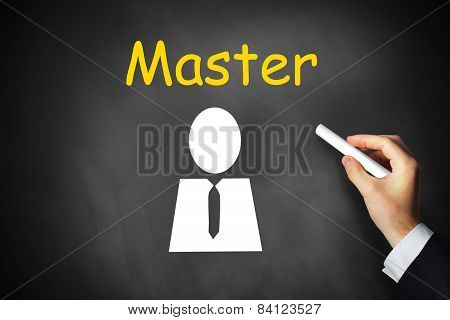 Hand Writing Master On Black Chalkboard