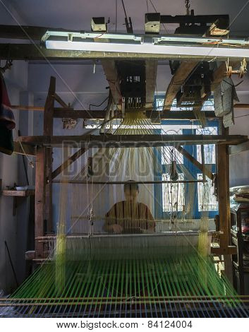 Silk Sari Weaving, Looking Through The Threads.