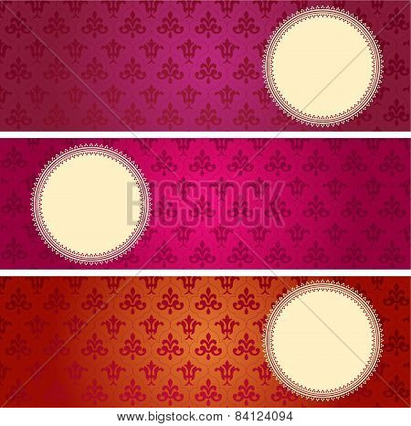 Colorful flower pattern horizontal banners