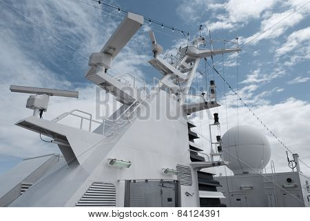 Satellite communication antenna on the top of large passenger ship