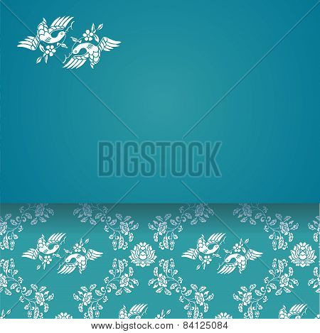 Flower and bird classical blue pattern with banner