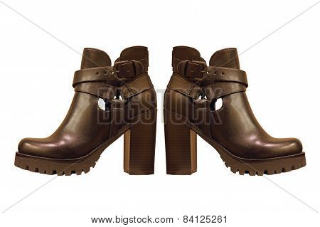 Black Leather Woman Boots.isolated.