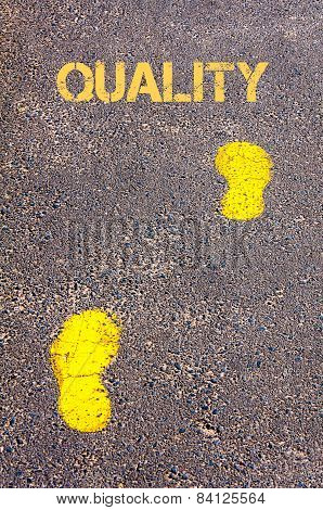 Yellow Footsteps On Sidewalk Towards Quality Message