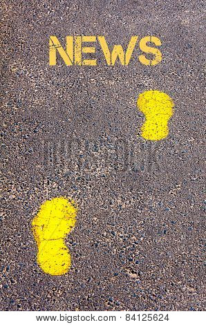 Yellow Footsteps On Sidewalk Towards News Message
