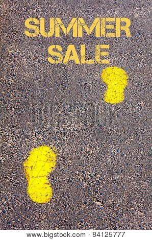Yellow Footsteps On Sidewalk Towards Summer Sale Message