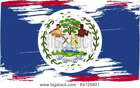 Flag Of Belize With Old Texture. Vector