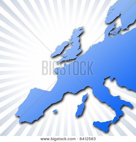 Europe Outline With Stripes