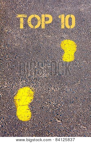 Yellow Footsteps On Sidewalk Towards Top 10 Message