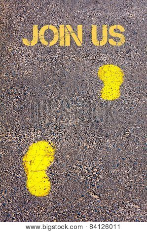 Yellow Footsteps On Sidewalk Towards Join Us Message