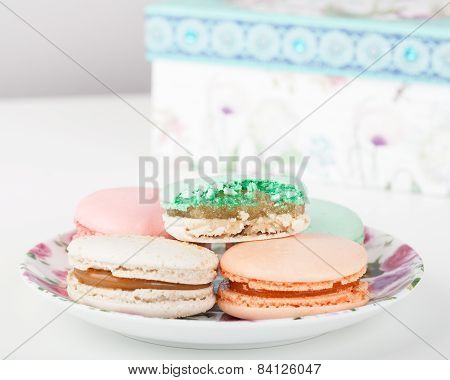 Traditional French sweets Macarons and gift container