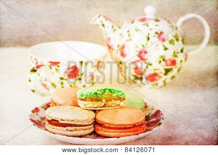 Traditional French Macarons and tea set with retro filter