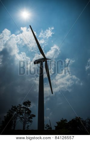 Silhouette of Wind Turbine