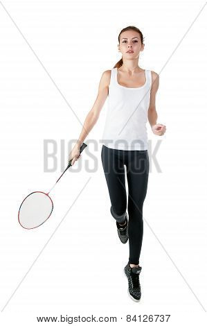 Beautiful girl with badminton racket in hands
