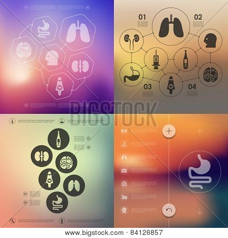 medicine infographic with unfocused background