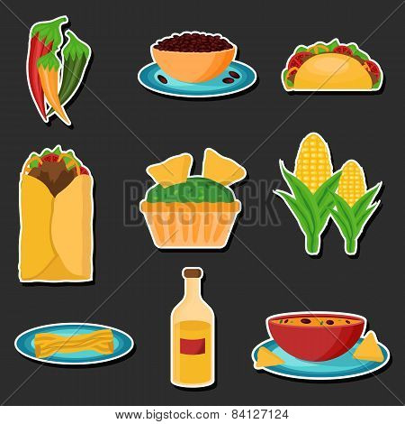 Set of cartoon stickers with mexican food