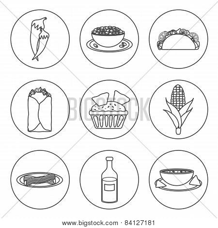 Set of black-white icons with mexican food