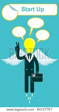 Vector happy lamp head businessman with victory sign
