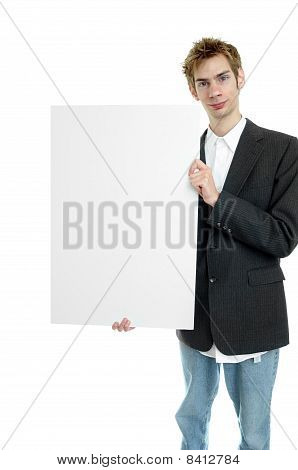 Businessman Holding White Sign