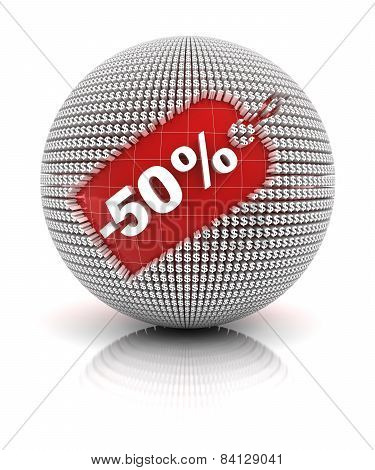 50 percent off sale tag on a sphere
