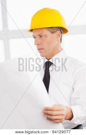 Architect With Blueprint.