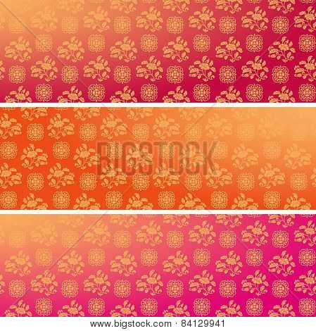 Set Of Vintage Asian Floral Pattern Horizontal Banners