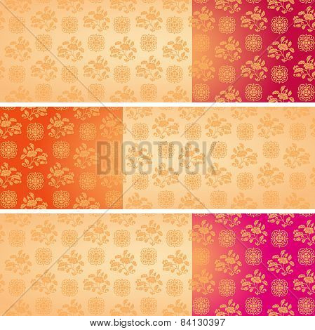 Set Of Vintage Asian Floral Pattern Horizontal Banners With Space For Text