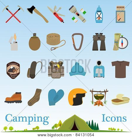 Mountain hiking and climbing vector icon set