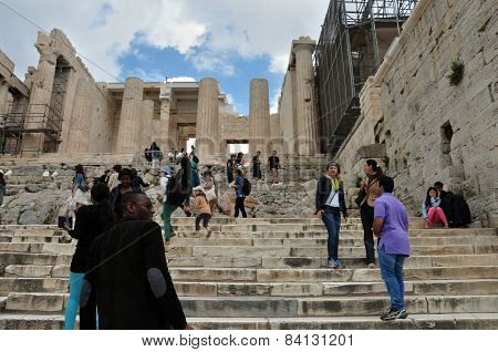 People At The Propylea Of Acropolis